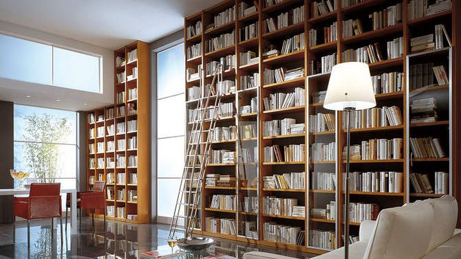 dit is een boekenkast, waar mensen vroeger hun papieren boeken in bewaarden