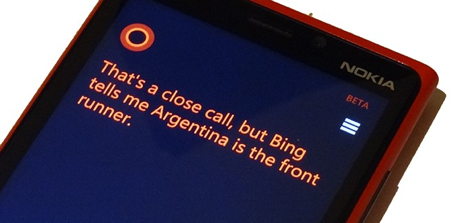Microsofts Cortana voorspelt: 'Argentinië wint van Nederland'
