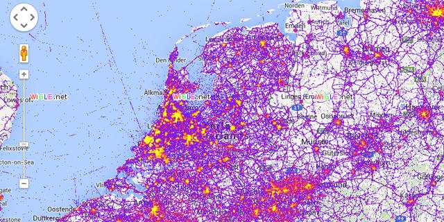 Nederland in kaart gebracht op basis van wifi-netwerken