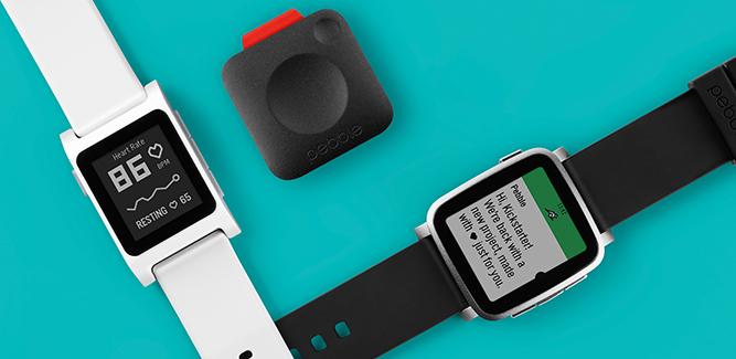 De drie nieuwe Pebbles-gadgets.