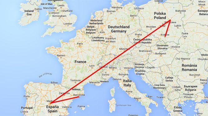 Een schematische weergave van de weg die Dennis moet afleggen richting Barcelona