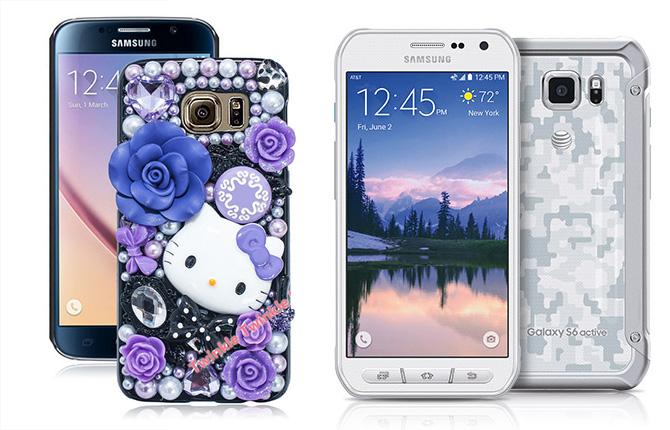 Links de 'normale' Galaxy S6 met een compleet willekeurig gekozen, heel gemiddeld hoesje. Rechts de S6 die je eigenlijk wilt hebben.